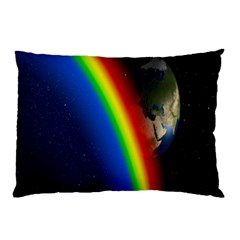 Rainbow Earth Outer Space Fantasy Carmen Image Pillow Case by Simbadda