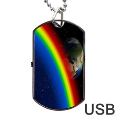 Rainbow Earth Outer Space Fantasy Carmen Image Dog Tag Usb Flash (two Sides) by Simbadda