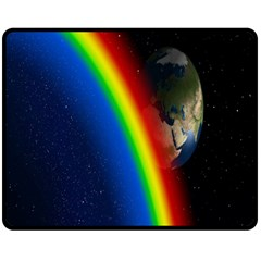 Rainbow Earth Outer Space Fantasy Carmen Image Double Sided Fleece Blanket (medium)