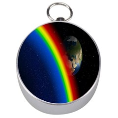 Rainbow Earth Outer Space Fantasy Carmen Image Silver Compasses by Simbadda