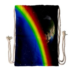 Rainbow Earth Outer Space Fantasy Carmen Image Drawstring Bag (large) by Simbadda