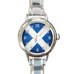 Scotland Flag Surface Texture Color Symbolism Round Italian Charm Watch by Simbadda