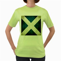 Scotland Flag Surface Texture Color Symbolism Women s Green T Shirt by Simbadda
