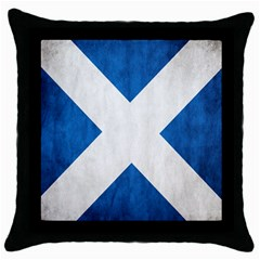 Scotland Flag Surface Texture Color Symbolism Throw Pillow Case (black) by Simbadda