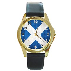 Scotland Flag Surface Texture Color Symbolism Round Gold Metal Watch by Simbadda