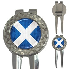 Scotland Flag Surface Texture Color Symbolism 3 In 1 Golf Divots by Simbadda