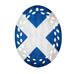 Scotland Flag Surface Texture Color Symbolism Oval Filigree Ornament (two Sides) by Simbadda
