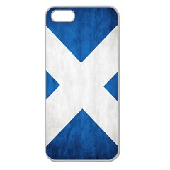 Scotland Flag Surface Texture Color Symbolism Apple Seamless Iphone 5 Case (clear) by Simbadda