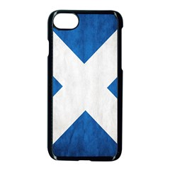 Scotland Flag Surface Texture Color Symbolism Apple Iphone 7 Seamless Case (black) by Simbadda