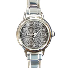 Patterns Wavy Background Texture Metal Silver Round Italian Charm Watch by Simbadda