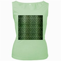 Patterns Wavy Background Texture Metal Silver Women s Green Tank Top by Simbadda