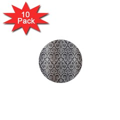 Patterns Wavy Background Texture Metal Silver 1  Mini Buttons (10 Pack)  by Simbadda