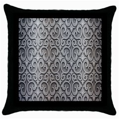 Patterns Wavy Background Texture Metal Silver Throw Pillow Case (black) by Simbadda