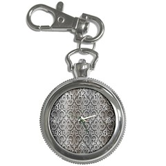Patterns Wavy Background Texture Metal Silver Key Chain Watches by Simbadda