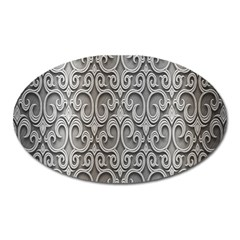 Patterns Wavy Background Texture Metal Silver Oval Magnet by Simbadda
