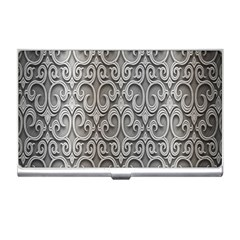 Patterns Wavy Background Texture Metal Silver Business Card Holders by Simbadda