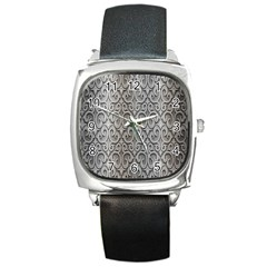 Patterns Wavy Background Texture Metal Silver Square Metal Watch by Simbadda