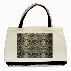 Patterns Wavy Background Texture Metal Silver Basic Tote Bag by Simbadda