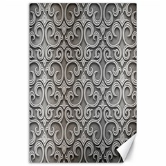 Patterns Wavy Background Texture Metal Silver Canvas 24  X 36  by Simbadda