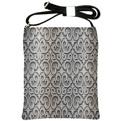 Patterns Wavy Background Texture Metal Silver Shoulder Sling Bags by Simbadda