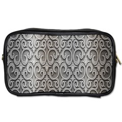Patterns Wavy Background Texture Metal Silver Toiletries Bags by Simbadda