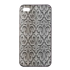 Patterns Wavy Background Texture Metal Silver Apple Iphone 4/4s Seamless Case (black) by Simbadda