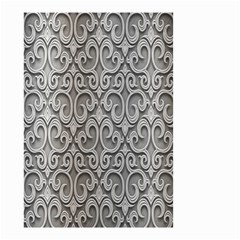 Patterns Wavy Background Texture Metal Silver Small Garden Flag (two Sides) by Simbadda