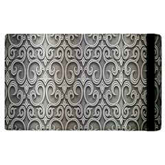 Patterns Wavy Background Texture Metal Silver Apple Ipad 3/4 Flip Case by Simbadda