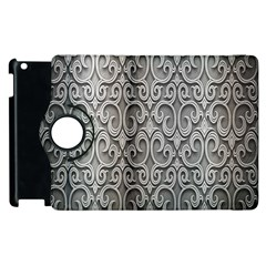 Patterns Wavy Background Texture Metal Silver Apple Ipad 3/4 Flip 360 Case by Simbadda