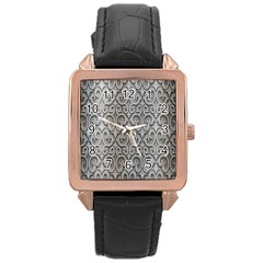 Patterns Wavy Background Texture Metal Silver Rose Gold Leather Watch  by Simbadda