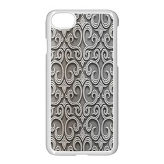 Patterns Wavy Background Texture Metal Silver Apple Iphone 7 Seamless Case (white) by Simbadda