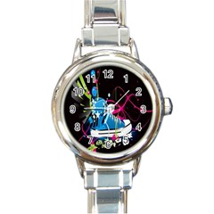 Sneakers Shoes Patterns Bright Round Italian Charm Watch by Simbadda