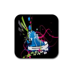 Sneakers Shoes Patterns Bright Rubber Coaster (square)  by Simbadda