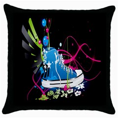 Sneakers Shoes Patterns Bright Throw Pillow Case (black) by Simbadda