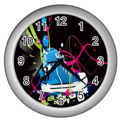 Sneakers Shoes Patterns Bright Wall Clocks (silver)  by Simbadda