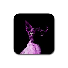 Pink Sphynx Cat Rubber Square Coaster (4 Pack)  by Valentinaart