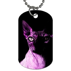 Pink Sphynx Cat Dog Tag (two Sides) by Valentinaart