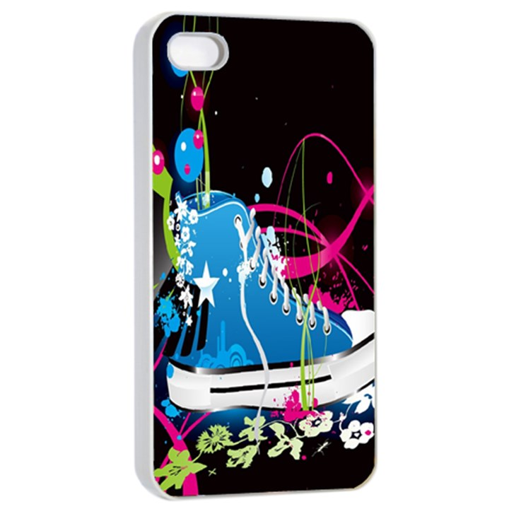 Sneakers Shoes Patterns Bright Apple iPhone 4/4s Seamless Case (White)