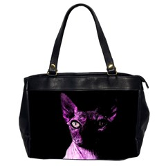 Pink Sphynx Cat Office Handbags (2 Sides)  by Valentinaart