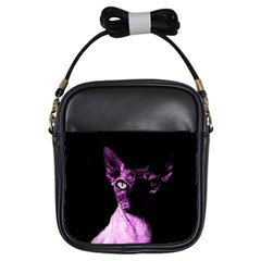 Pink Sphynx Cat Girls Sling Bags by Valentinaart