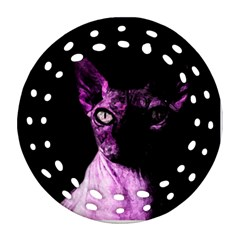 Pink Sphynx Cat Round Filigree Ornament (two Sides) by Valentinaart