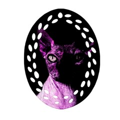 Pink Sphynx Cat Ornament (oval Filigree) by Valentinaart