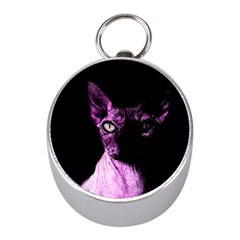 Pink Sphynx Cat Mini Silver Compasses by Valentinaart