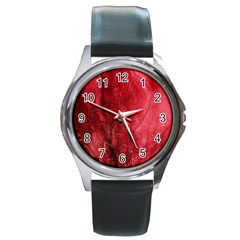 Red Background Texture Round Metal Watch by Simbadda
