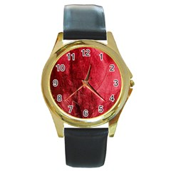 Red Background Texture Round Gold Metal Watch by Simbadda
