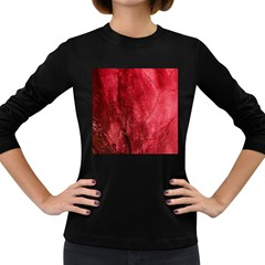 Red Background Texture Women s Long Sleeve Dark T-shirts by Simbadda