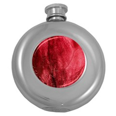 Red Background Texture Round Hip Flask (5 Oz) by Simbadda