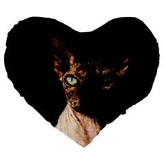 Sphynx Cat Large 19  Premium Flano Heart Shape Cushions by Valentinaart
