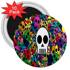 Skull Background Bright Multi Colored 3  Magnets (10 Pack)  by Simbadda