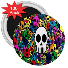 Skull Background Bright Multi Colored 3  Magnets (100 Pack) by Simbadda